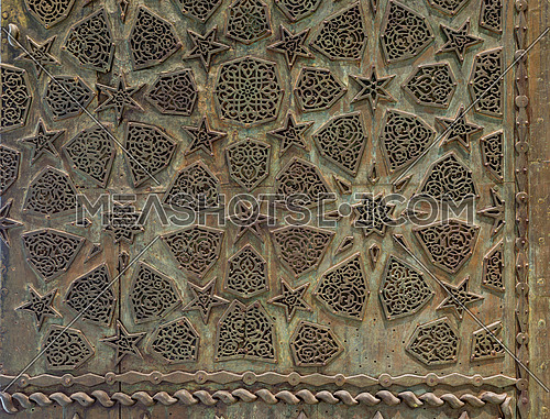 Bronze-plate ornaments of an aged door, Cairo, Egypt