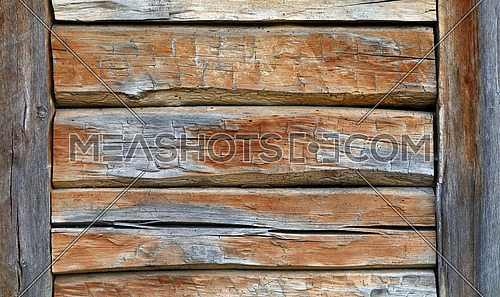 Close up background texture of old vintage rustic weathered wooden panel with horizontal planks