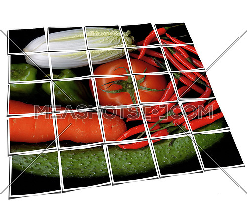 assorted vegetables on black background collage composition of multiple images over white
