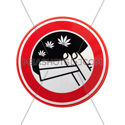 No marijuana smoking sign with hemp leaf, cannabis and other drugs forbidden, isolated on white background