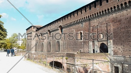 Milan,Italy-april 13,2021:Wonderful panoramic of old medieval Sforza castle,sunny day and clouds, Milan,Italy.