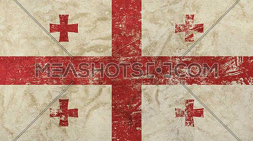 Old grunge vintage dirty faded shabby distressed Georgia or Georgian republic national flag background