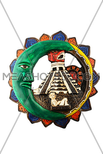Mexican Mayan Chichen Itza souvenir ceramic painted plate with Moon, pyramid and girl isolated on white