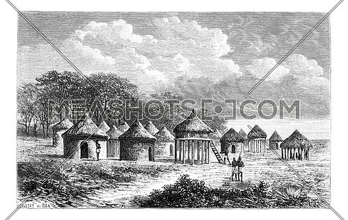 Cambouta Village, in Angola, Southern Africa, drawing by De Bar based on the English edition, vintage illustration. Le Tour du Monde, Travel Journal, 1881