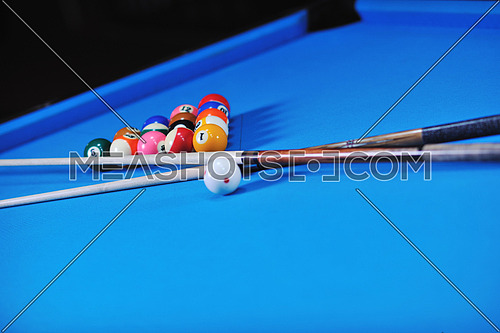 billiard sport game balls on blue table on billiard club ready to play
