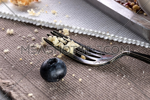 A fork with muffin crumbs on a brown burlap and a blueberry