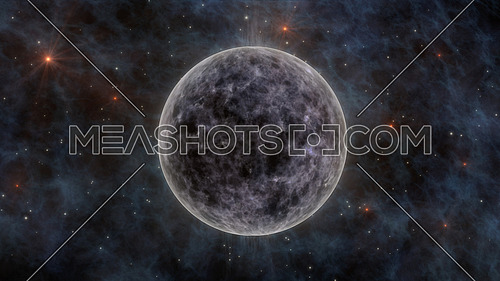 The Moon, Stars, Stardust and Planets In Space 3D Rendering