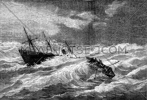 Sinking of the steamer Dieppe Valentine in the vicinity of Lizard, vintage engraved illustration. Journal des Voyages, Travel Journal, (1879-80).