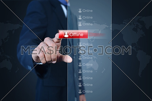 Business man with offline button