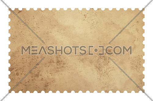 Old retro grunge style blank paper postage stamp isolated on white background