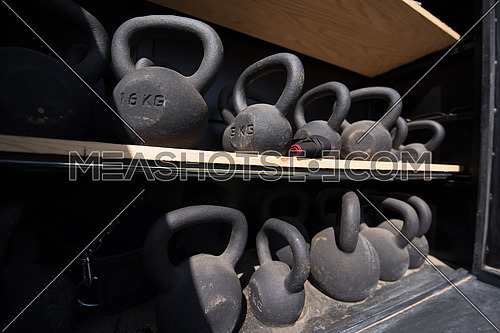 heavy iron weights on the shelf
