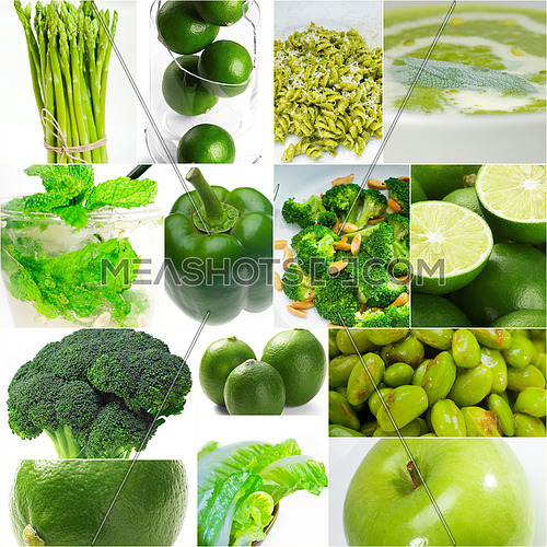 green healthy food collage collection nested on white frame