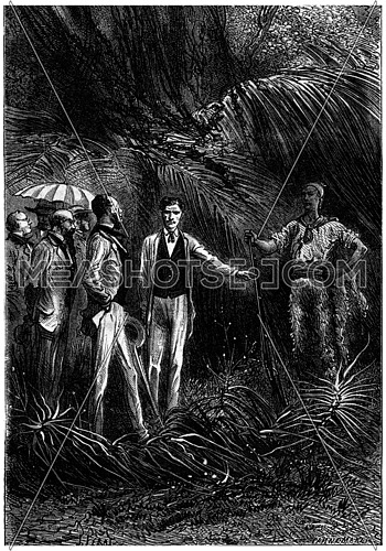 The bushman hunter, presenting his companion, vintage engraved illustration. Jules Verne 3 Russian and 3 English, 1872