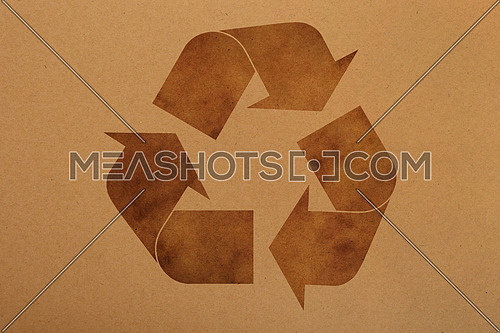 Natural brown design craft paper parchment background texture  with grunge recycling logo icon