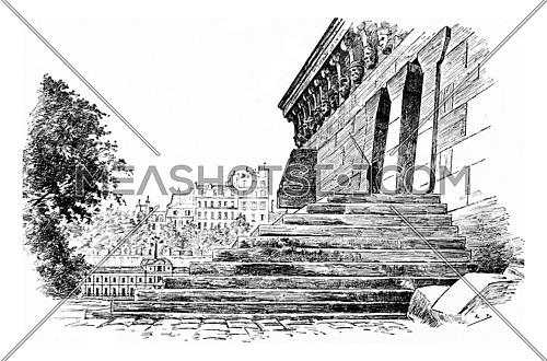 The stairs to the platform and suite of the Samaritan woman, vintage engraved illustration. Paris - Auguste VITU – 1890.