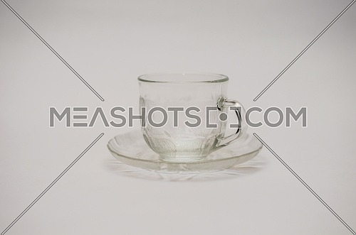 empty glass tea cup isolated on white background