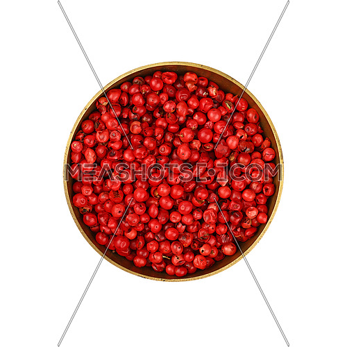 Close up one bronze metal bowl full of red pink pepper peppercorns isolated on white background, elevated top view, directly above