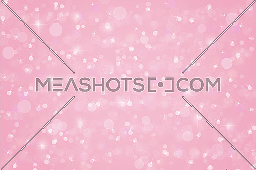 Abstract soft warm pink Christmas holiday winter background of falling snow bokeh, sparkles and glitter