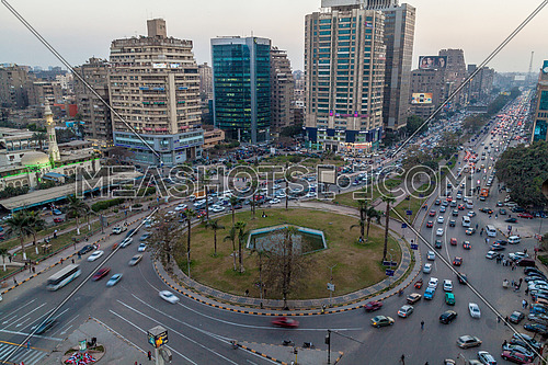 fixed shot for traffic in Moustafa Mahmoud Square at Cairo at Day