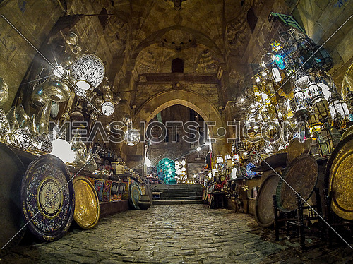 Lanterns market at Khan El-Khalili Street is the oldest area in Cairo at night
