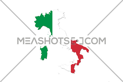 Map of Italy With Italian Flag Isolated On White Background  illustration