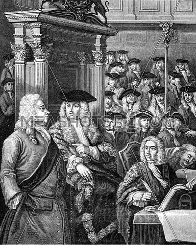 A session of the House of Commons about 1710, vintage engraved illustration. Magasin Pittoresque 1869.