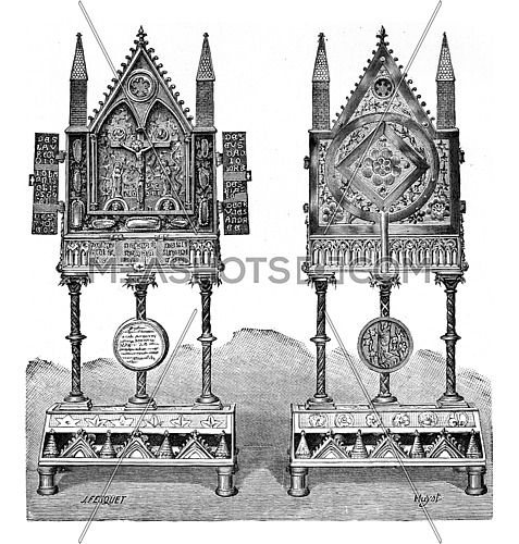 Reliquary of the thirteenth century, vintage engraved illustration. Industrial encyclopedia E.-O. Lami - 1875.