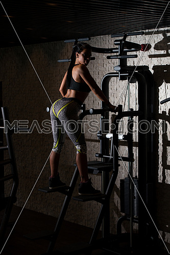 Portrait Of A Sexy Sporty Latino Woman In The Gym With Exercise Equipment