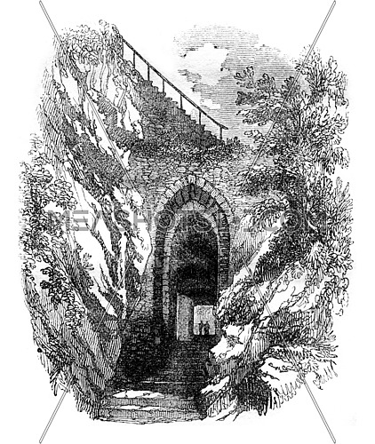 Stove in the rock of the castle of Dunbar, vintage engraved illustration. Colorful History of England, 1837.