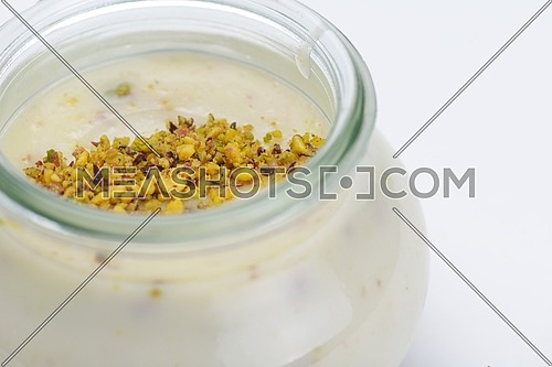 tasty dessert glass cup with fruits and chocolate