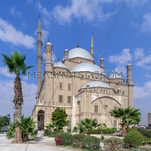 Cairo, Egypt - January 10 2016: The great Mosque of Muhammad Ali Pasha (Alabaster Mosque), situated in the Citadel of Cairo, commissioned by Muhammad Ali Pasha, one of the landmarks of Cairo