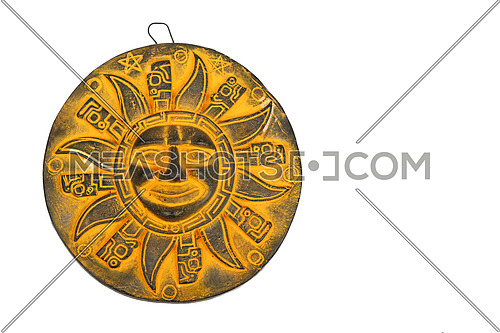 Mexican traditional yellow ceramic sun symbol plate souvenir isolated on white