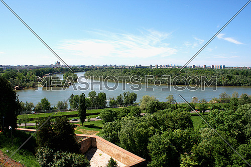Confluence of the river Sava in Belgrade with the beautiful view on the Kalemegdan