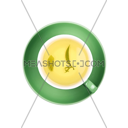 Full cup of clear green tea with floating leaves on green saucer isolated on white background, close up, elevated top view
