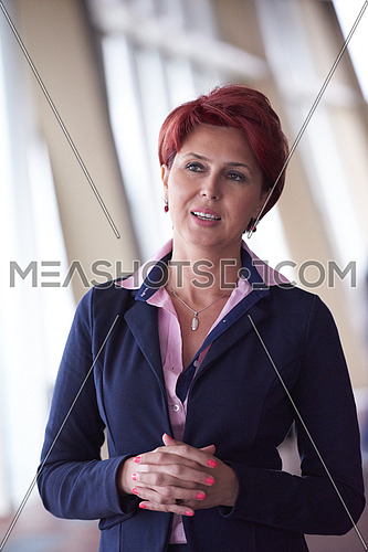 redhair senior  business woman portrait at corporate office interior