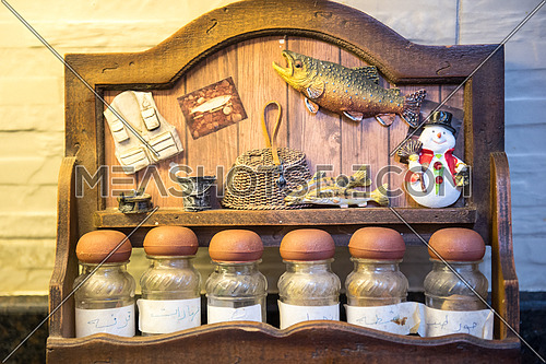 Shelf of Spices with Sea decorations