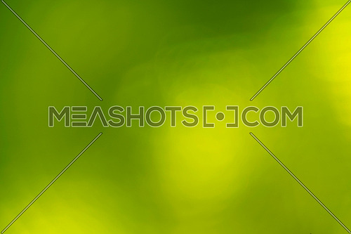 Green spring nature abstract blur background with bright light lens flare spot of yellow sunshine