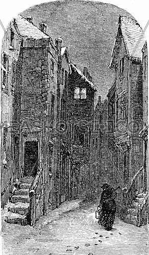 The former Judengasse, vintage engraved illustration. From Chemin des Ecoliers, 1861.