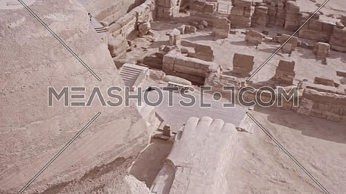 360 Shot Drone for The Sphinx showing Menkaure Pyramid and Khafre Pyramid in background in Giza at day