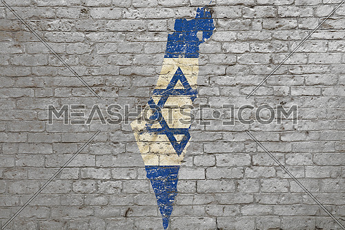 Grunge distressed map shaped flag of Israel painted on old weathered grey brick wall