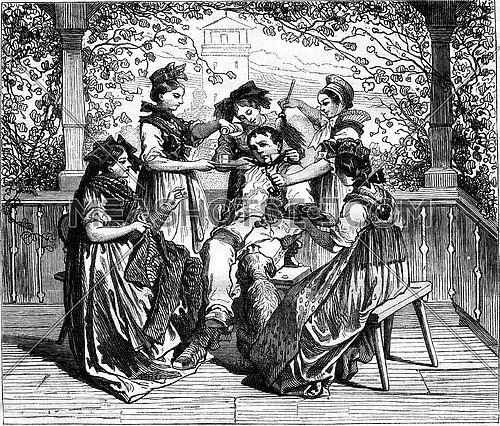 Jean du Creux Cousins, vintage engraved illustration. Magasin Pittoresque 1877.