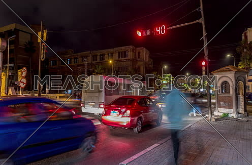 Fixed shot for traffic at Alexandria at night