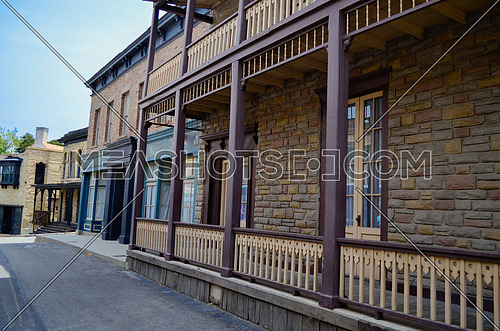 Empty wooden building in an abandoned cowboy town  , Universal Studios, studio location, Los Angeles ... April 2016