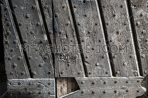 Ancient wooden door of Vigevano castle