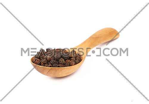 Close up one wooden scoop spoon full of black pepper peppercorns isolated on white background, high angle front view