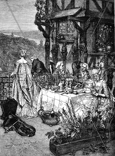 Matrimonial agreements, painting by Henri Pille, vintage engraved illustration. Magasin Pittoresque 1876.