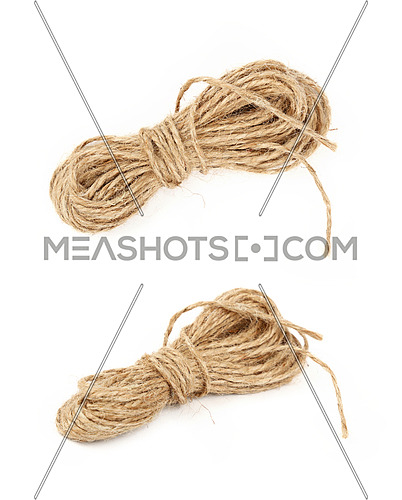 Two different angles of small coil skein of natural brown twine hessian burlap jute rope isolated on white background, close up, high angle view