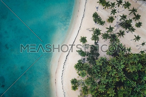 Aerial view of tropical beach.Samana peninsula,Bahia Principe beach,Dominican Republic.