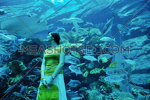 young woman  with big blue aquarium withmany  fish in background