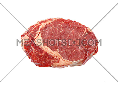 Close up one raw ribeye beef steak isolated on white background, elevated top view, directly above
